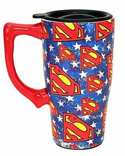 Spoontiques 12753 Superman Logos Travel Mug, Blue