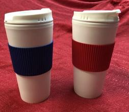 2- Coffee 16oz Thermal Mug Travel Double Wall Cup - Red & Bl