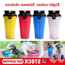 2 in 1 700ml Portable Pet Water Food Bottle Dispenser Dog Ca