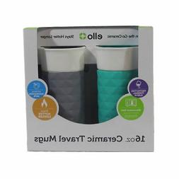 2 Pack of Ello Ogden 16oz BPA-Free Ceramic Travel Mugs with