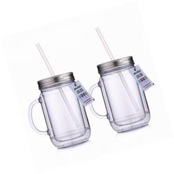Cupture 2 Vintage Clear Mason Jar Tumbler Mug With Stainless