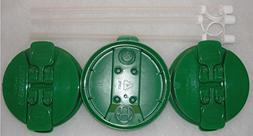 """3-Green Replacement lids and 3-11"""" Flexible Straws for 32 oz"""