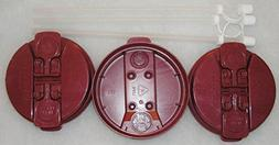 "3-Electron Burgundy Replacement lids and 3-11"" Flexible Stra"