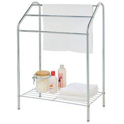 Freestanding 3 Tier Metal Towel Rack, Chrome Bathroom Towel