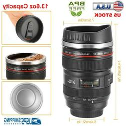 400ML Camera Lens Cup Coffee Travel Mug Thermos Stainless St