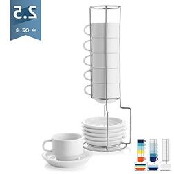 Sweese 4310 Porcelain Stackable Espresso Cups with Saucers a