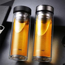 500ml Glass Water Bottle Tea Cup BPA Free Double Wall Infuse