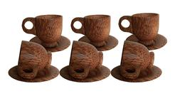 6Pcs WOODEN COFFEE MUG WITH SAUCER Wooden Color Eco Travel D