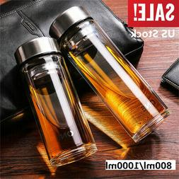 800/1000ML Glass Water Bottle Double Walled Travel Office Mu