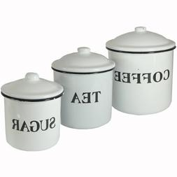 Creative Co-op Coffee Tea Sugar Enamel Metal Containers with