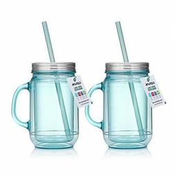 Cupture 2 Vintage Blue Mason Jar Tumbler Mug With Stainless