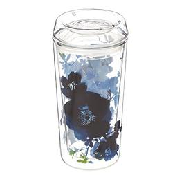 Cypress Home Bella Blue Double Wall Glass Travel Coffee Cup