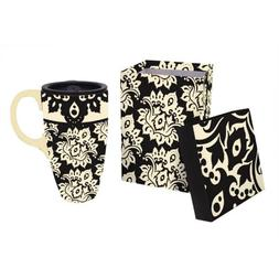 Extracts Black Plume Pattern Ceramic Latte Travel Mug with G