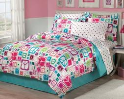 My Room Peace Out Girls Comforter Set With Bedskirt, Multico