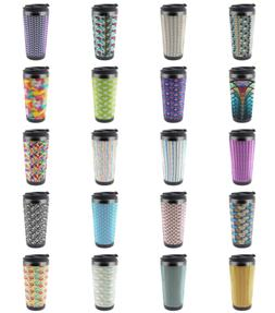 Ambesonne Abstract Shape Travel Mug Steel Thermal Cup 16 oz