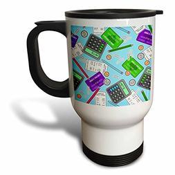 3dRose Accountant Themed Pattern Blue, Travel Mug, 14oz, Sta