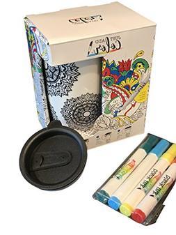 Just Add Color Coffee Travel Mug Includes 4 Food Safe Marker