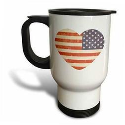 3dRose American Flag Heart, Travel Mug, 14oz, Stainless Stee