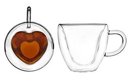 Artisan Roast Double Walled Heart Shaped Coffee Mug - Set of