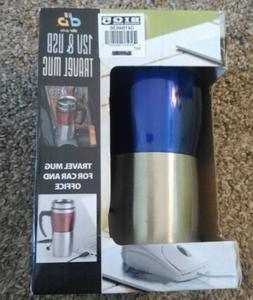 DBR Auto Travel Mug 12V USB Blue Silver Bin 5