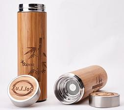 Bamboo Travel Coffee Mug Double Wall Eco Thermos for Hot and