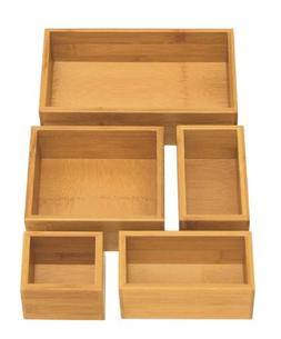Seville Classics 5-Piece Bamboo Drawer Organizer Box Set, Na