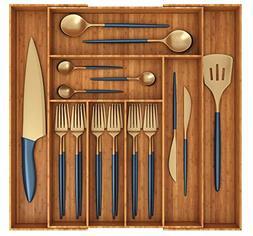 Miko Bamboo Expandable Kitchen Drawer Organizer - Multi Purp
