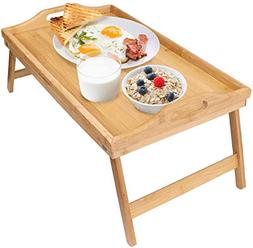 Greenco Bamboo Foldable Breakfast Table, Laptop Desk, Bed Ta