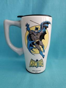 BATMAN WHITE TRAVEL MUG W/HANDLE  DC COMICS  SPOONTIQUES  12