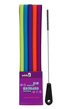 Bubba Big Straws 5 Pack, Assorted Bold Colors, with Brushtec