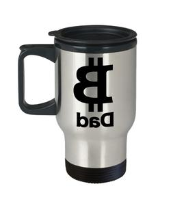 Bitcoin Dad Mug Travel Coffee Cup Cryptocurrency Free Market