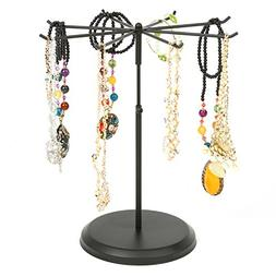 Black Metal Rotating 8 Hook Necklace & Bracelet Organizer /