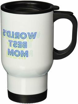 3dRose Blue/Green Worlds Best Mom-Stainless Steel Travel Mug