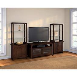 Bush Furniture Buena Vista TV Stand with Set of 2 Tall Libra