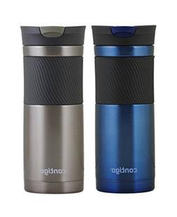 Contigo 20oz Byron SnapSeal Travel Mugs, Monaco Blue & Gunme