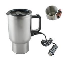 Pevor 12V Car Heating Cup Bottle 450ml Stainless Steel Coffe