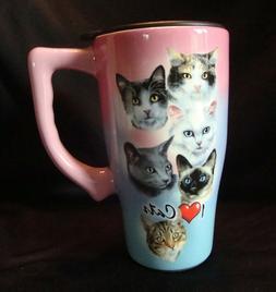 """Cat Travel Mug Spoontiques 11996 """"I Love Cats"""", 14 Oz. Cat M"""