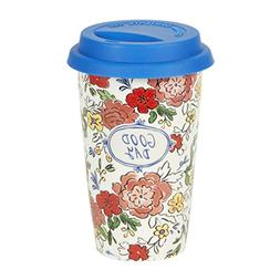 C.R. Gibson 12 Ounce Ceramic Travel Mug, By Molly Hatch, Sil