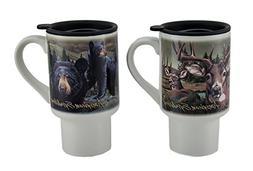 Ceramic Travel Mugs American Expedition 2 Piece Bear & Deer