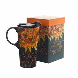 Ceramic Travel Mug Coffee Cup 17 OZ. with Sealed Lid and Gif