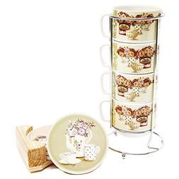 Coffee Ceramic Mug Saucers Set Porcelain Stacked Tea Cup Wit