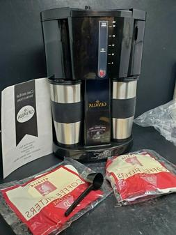 Gevalia Coffee Maker For Two w/2 Stainless Travel Mugs WS-02