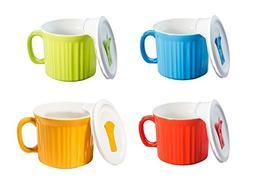 CorningWare Pop in mug, 4 mugs with vented plastic covers  2