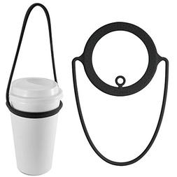 Travel Cup Carrier Holder, Reusable Silicone Coffee Drink Be