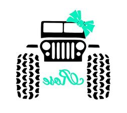 Custom Jeep 4x4 with Name Decal Sticker for Laptop Locker Ca