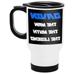 Davin Travel Mug, Personalized Gift, The Man the Myth The Le