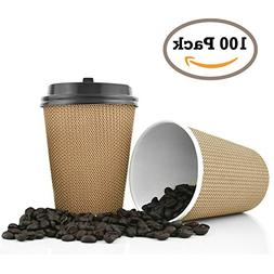 Premium Disposable Paper Coffee Cups with Lids. 12 oz - 100