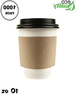 1000 Pack - 10 oz Disposable White Paper Coffee Cups with Bl