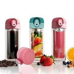 TENTA Kitchen 300ml Double Wall Glass Tea Infuser Mug Tumble