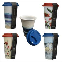 double wall porcelain contemporary travel office mug